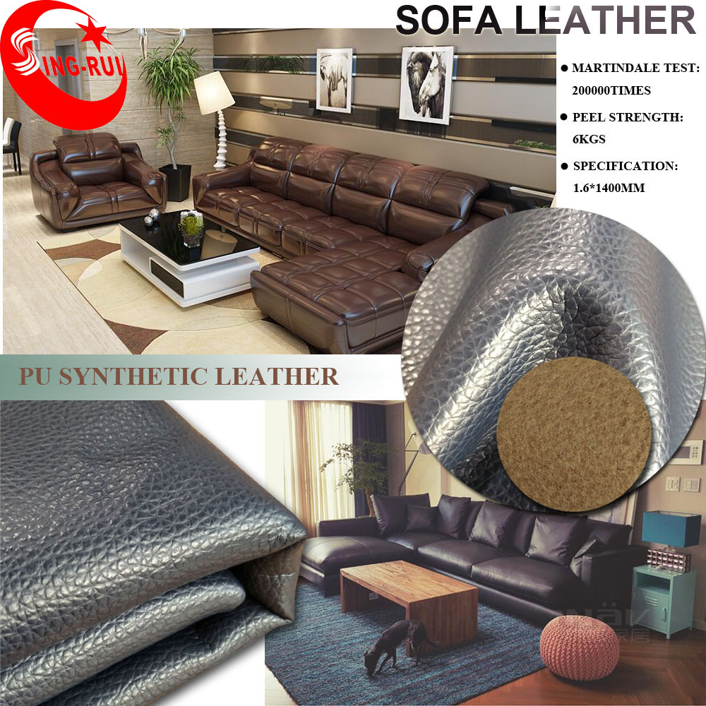 Exporting A Lot to USA Good Quality Litchi Grain PU Leather for Sofa