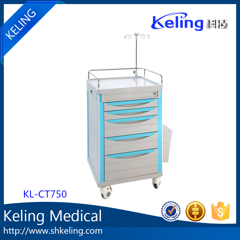 hot sale & high quality ABS plastic hospital trolley with guard rail OEM