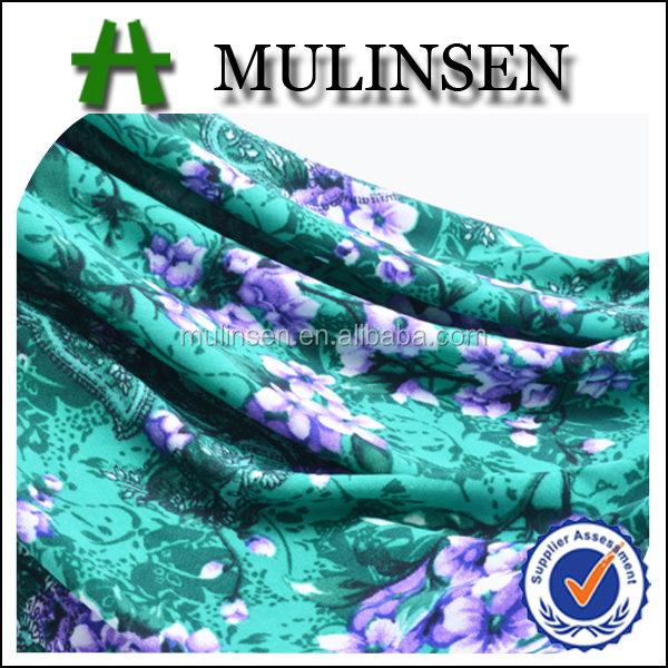 Mulinsen textile knitted polyester spandex green traditional flower wholesale apparel fabric