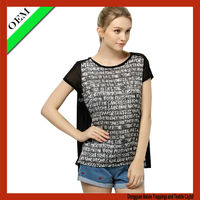 OEM English word printting T-shirt/ t shirt for lady
