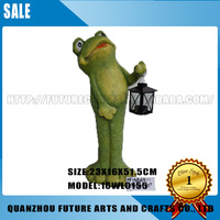 Polyresin Frog Garden Decoration Statue With Lamp (16WL0155/0158)
