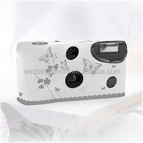 White and Silver Butterfly Throw Away Cameras for
