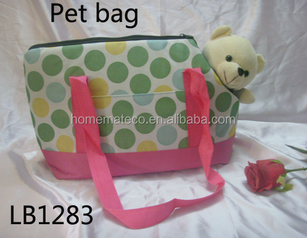 cute small casual canvas pet dog cat bag padded with sponge for shopping and travelling with shoulder shapes and zipper closer