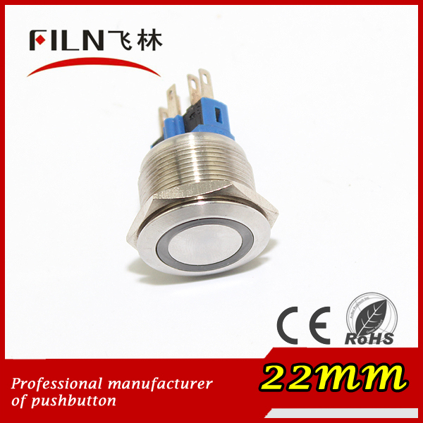 1NO1NC 22mm 12v 20mA momentary surface mount push button switch with green light