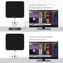 Super power flat digital uhf vhf tv indoor antenna Amplified 50 Miles Detachable Antena and 13ft Coaxial Cable HDTV Antenna