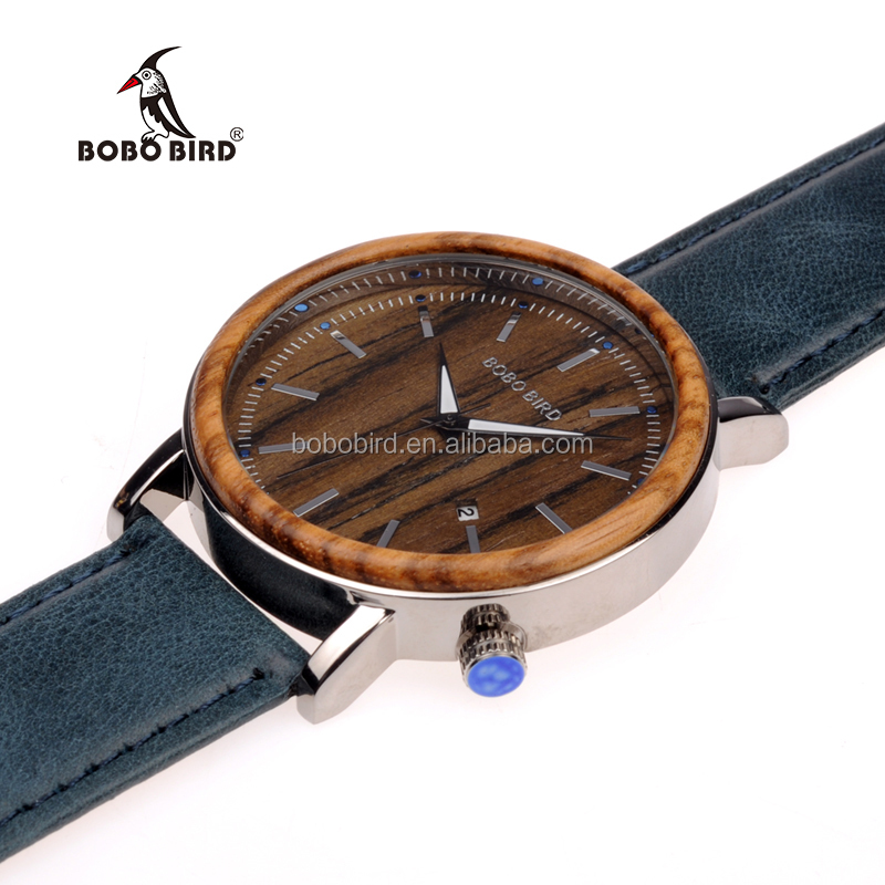 Colorful leather band fashion natural wood wristwatch alloy metal case watch with date