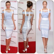 Hot selling Cheap Sey Miranda Kerr Knee Length Blue Rayon HL 2 Piece Bandage Dress New Arrival Elegant Knitted Ladies Fashion Dr