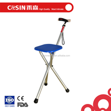 disabled walking stick with chair, tripod cane, three legs seat cane