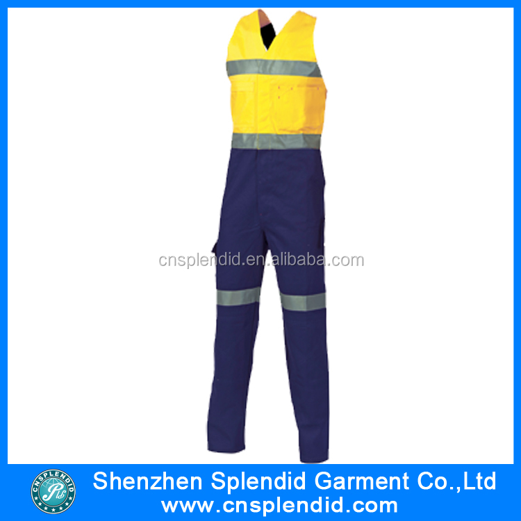 High quality custom working cotton reflective jumpsuits for men