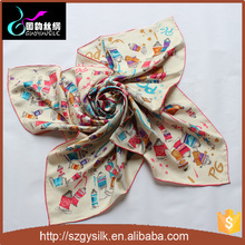 100% pure custom printed silk square scarves