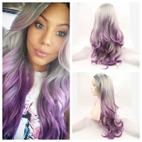 Ombre Grey Body wave Synthetic Lace Front Wig Glueless Long Natural Black/Silver Grey/Purple Heat Resistant Hair Wigs free ship