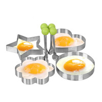 Nonstick Egg Ring Set of 4 Stainless Steel Pancake Mold Fried Eggs Kitchen Cooking Tools Heart Round Star Flower Shapes