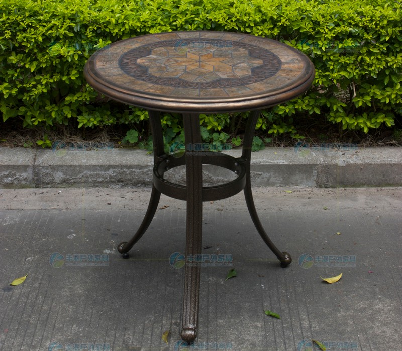 Stone round table top cast aluminum rust resistant garden for Metal patio table and 4 chairs