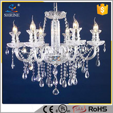 Modern Lighting Sparkling Silver Crystal Candle Chandelier