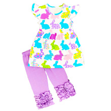 Girls Boutique Summer Outfit wholesale .girls wear Lovely rabbit patterns and purple pants