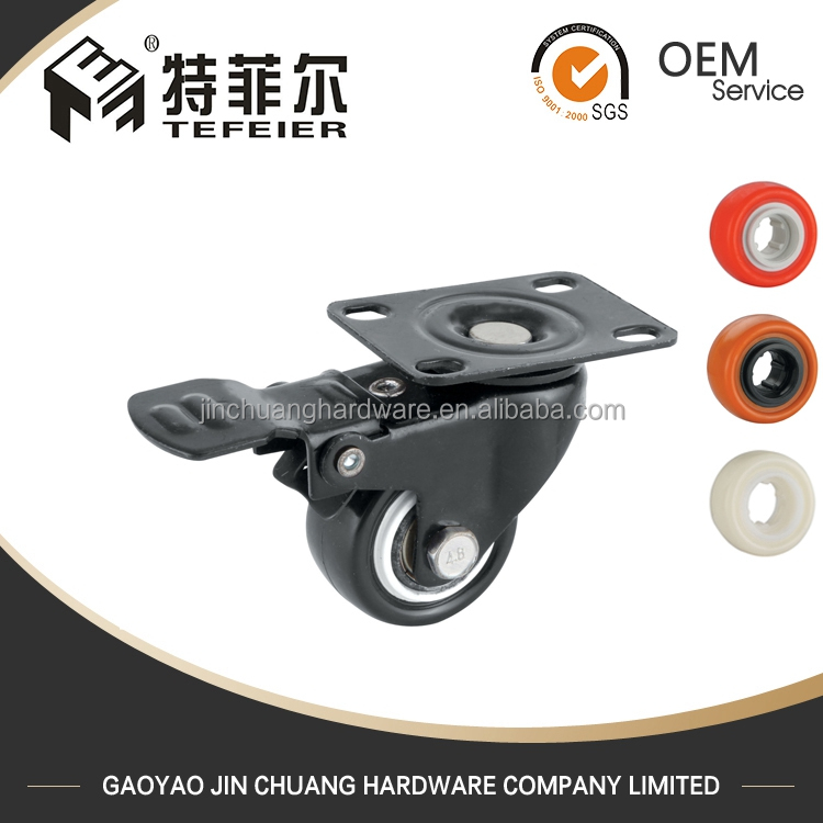 PVC Hand Cart Cast Iron Caster Wheels With Brake
