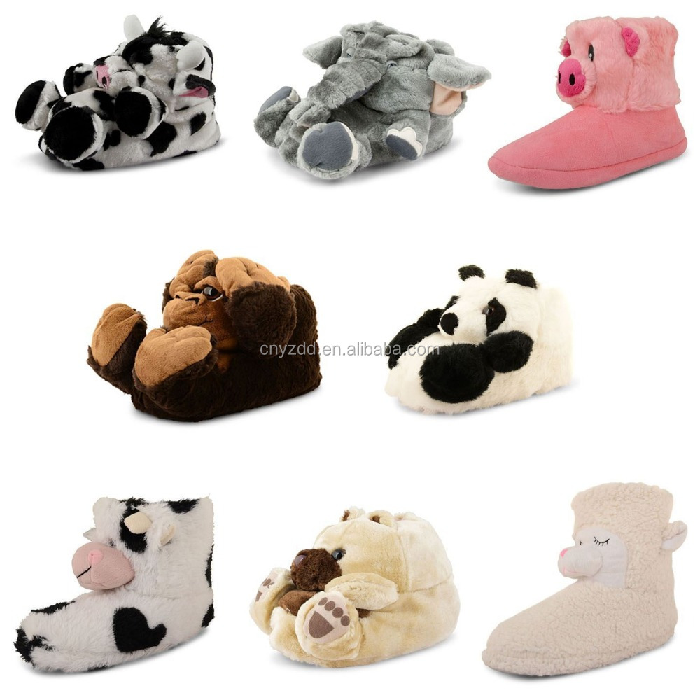 animal boot plush /cut soft plush boots /cut plush indoor animal slipper