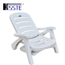 Superior quality poolside white color beach folding plastic swimming pool lounge chair