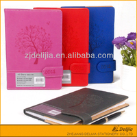 2016 cheap colorful pu leather cover magnetic diary with lock