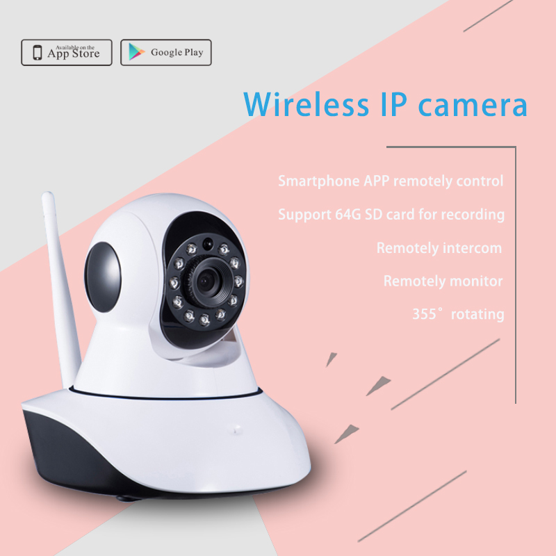 Home wireless security IP camera can work with alarm systems protect home ,night version HD and support SD card to store videos