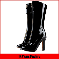 Popular high quality fashionable hottest design new arrival luxurious black patent leather women boots