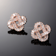 Luxury design women dinner party zircon earring gold plating copper body fancy stud earring