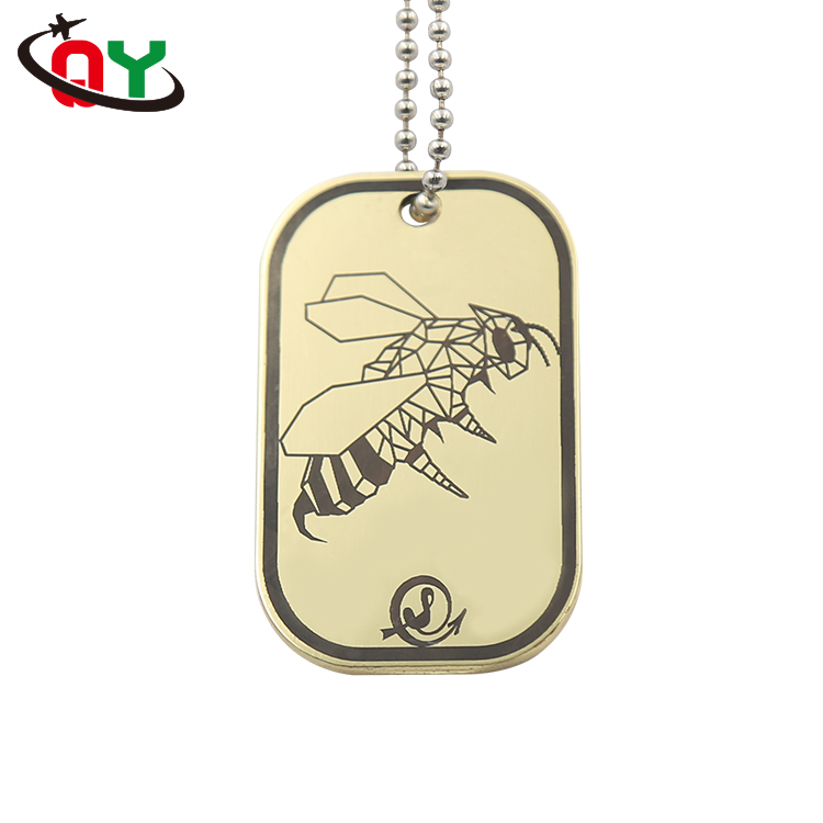 hot selling dog tag necklace custom etching logo bees gold steel dog tag with necklace