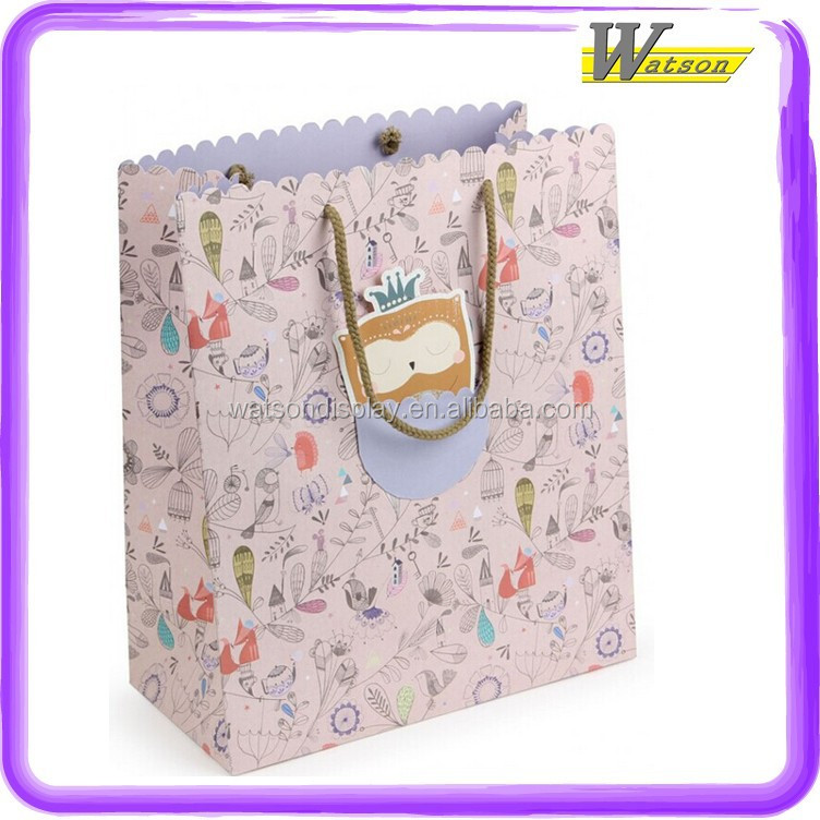 Floral Style Cute squirry in Spring Paper Cardboard Handle Bag