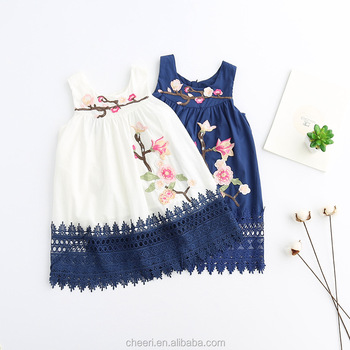 hot selling beautiful embroidery sleeveless europe best hot baby cotton frocks