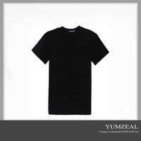 Custom V-Neck T-Shirt Plain Cotton Wholesale Blank T-Shirt 2016