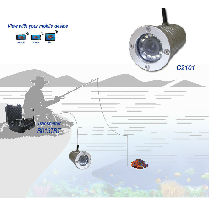 Portable wifi digital wireless underwater fishing camera with 20meters cable