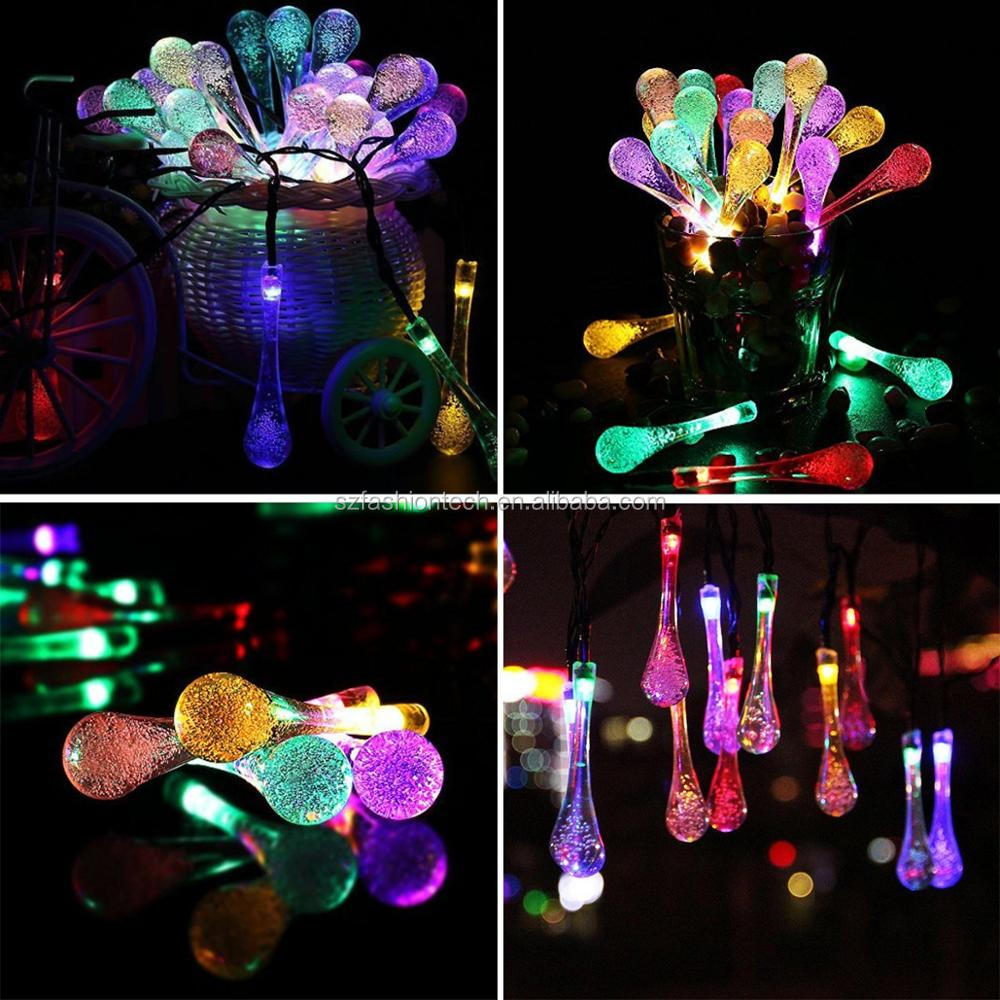 Solar Powered USB charging Waterdrop String Lights LED Fairy Light 30 LED for Outdoor Decoration