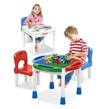 Multifunction Kids Plastic Study Playing Compatible Building Blocks Table with Chair