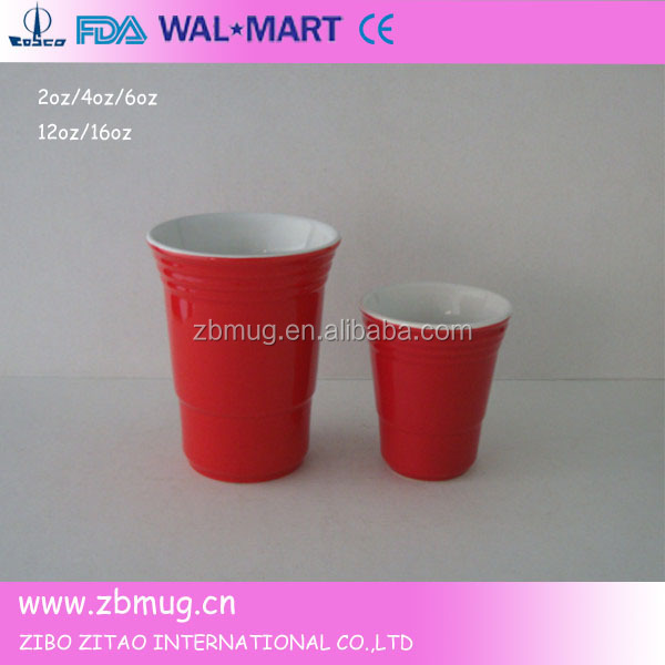 china ceramic custom crinkle red solo cups