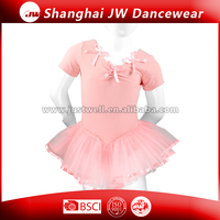 wholesale gymnastics leotards with chiffon skirt, girls short ballet leotard