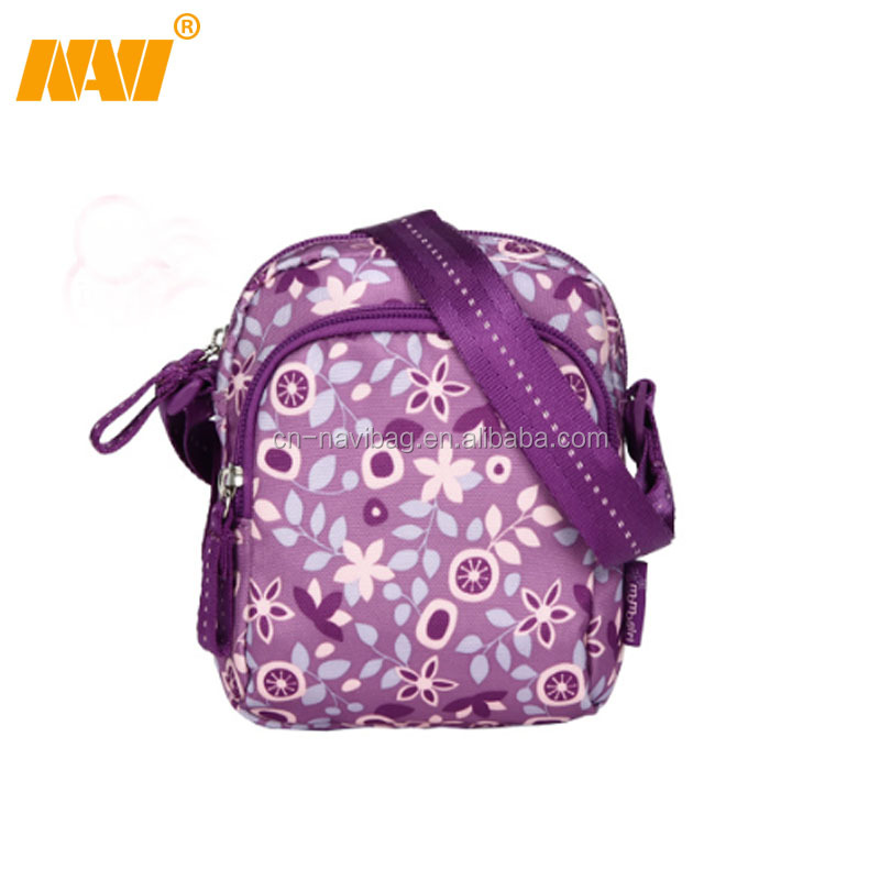 chinese factory produce women flower print mobile phone walking shoulder bag
