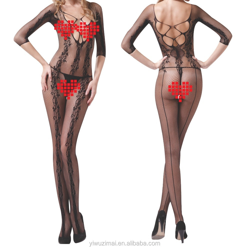 Europe and the United States lingerie sexy net pattern appeal open file jumpsuits