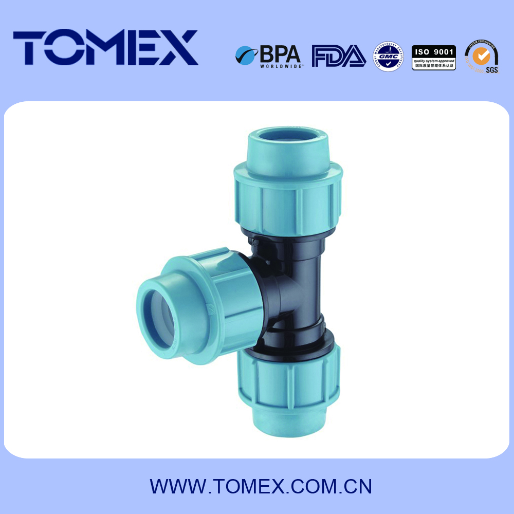 2016 PP tee joint pipe fittings tube fittings with cheapest price