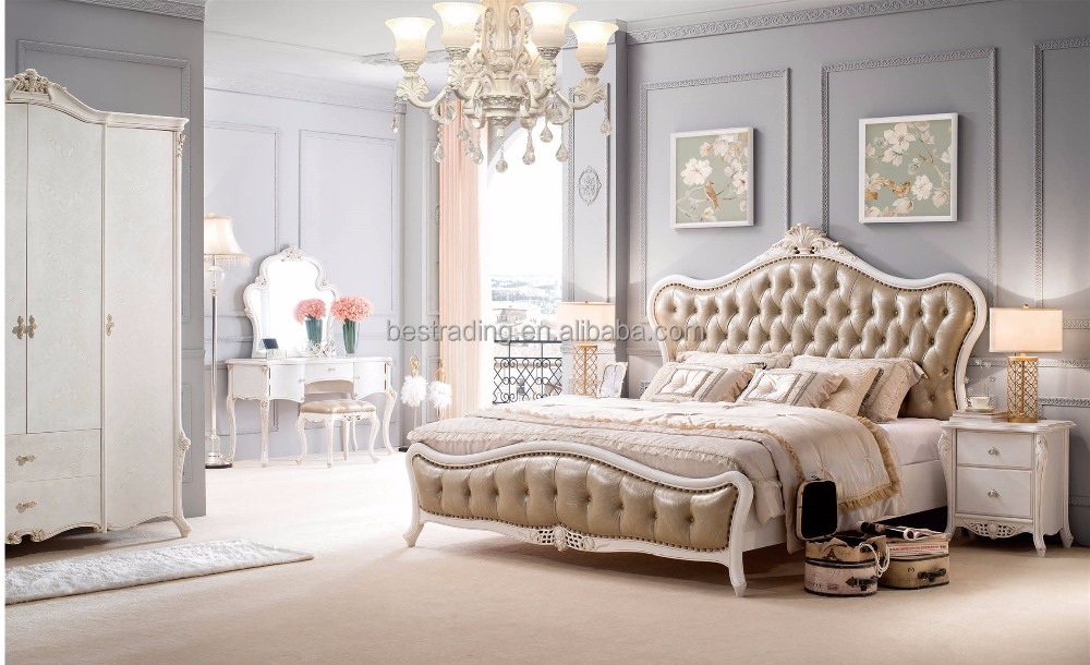 F0150 French Baroque Design Wooden Bedroom Furniture Set King Size Bed/ Palace Royal Classic Bedroom Bed Set