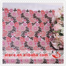 Latest design of water soluble chemical guipure lace fabric multi colour heavy cord lace fabric