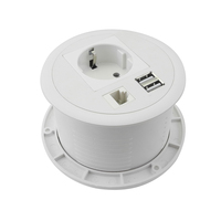 Desktop Power Grommet Power Outlet Socket Desk Data Center 2 Outlet with 2 USB Ports with Extension Cord