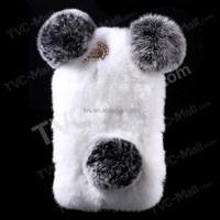 for iPhone 6 Plus case, for iPhone case, Panda Shape Warm Rabbit Fur Pearl Rhinestone Hard Case for iPhone 6s Plus/6 Plus