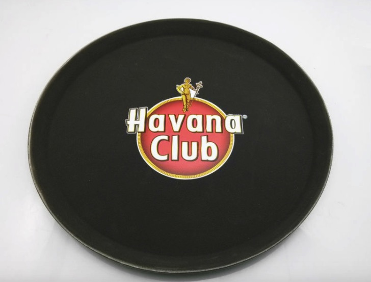 tempered fiber glass bottom anti-scratch rubber non slip round serving tray