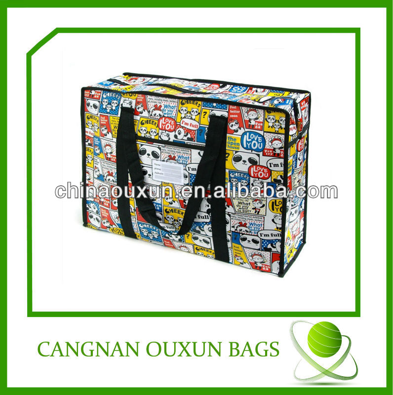 fashion recycled laminated pp woven zipper shopping bag