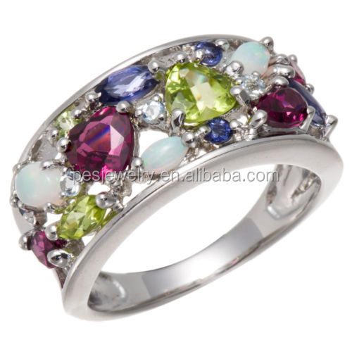 PES fine Jewelry! Multi-color Gemstone Ring, Opal, Rhodolite, Peridot (PES6-1389)