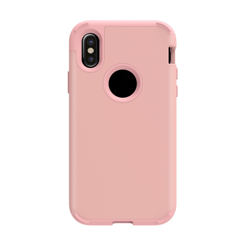 Frosted UV oil 3 in 1 plastic back and silicone frame mobile phone cover case with 4 shockproof corners for iphone 8 phone case