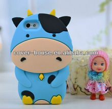 Hot Lovely Milk Cow 3D Animal Case For Iphone 4 5 Silicon Cover