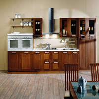 Unique Design Modern Customized Solid Wood Kitchen Furniture With Microwave Ovens