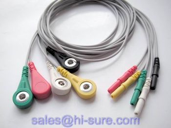 Medical cable 5 snap electrode lead wire for ECG equipment,ECG conductive electrode cable