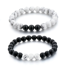 Distance Bracelets for Lovers Black Matte Agate & White Howlite 8mm Beads